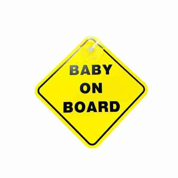 Baby on board sign included in the Venture Acti-Vue mirror