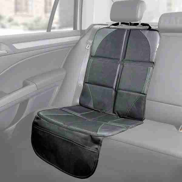 Our car seat protector covers the seat to protect from scuffs and rips