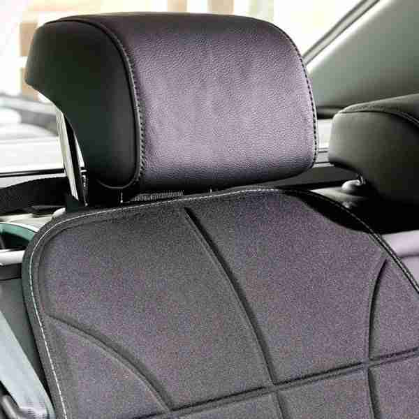 Our heavy duty car seat protector fastens to the the cars headrest