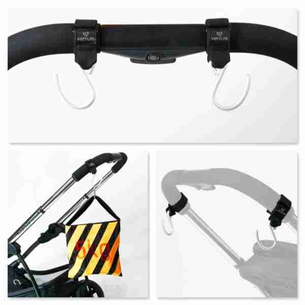 Venture buggy hooks are easily attached to the handlebars of your pram