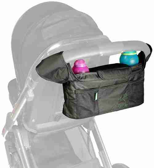 The Venture Stroller Organiser can be attached easily to the handlebars of your pram.