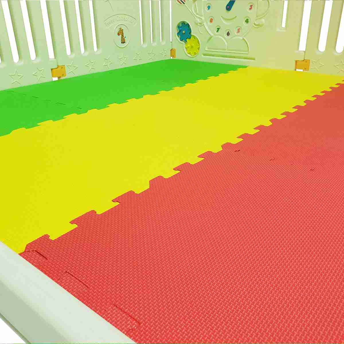 Thick padded foam mats help keep your child bump free whilst they play