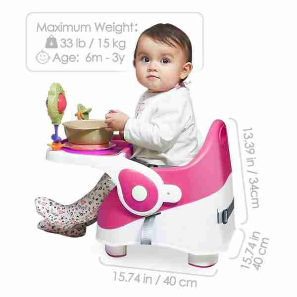 QFix travel highchairs are recommended for 6+ months and up to 15 kgs.
