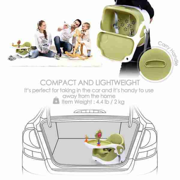 The Venture Q-Fix travel booster seats can be configured to make it easier to transport