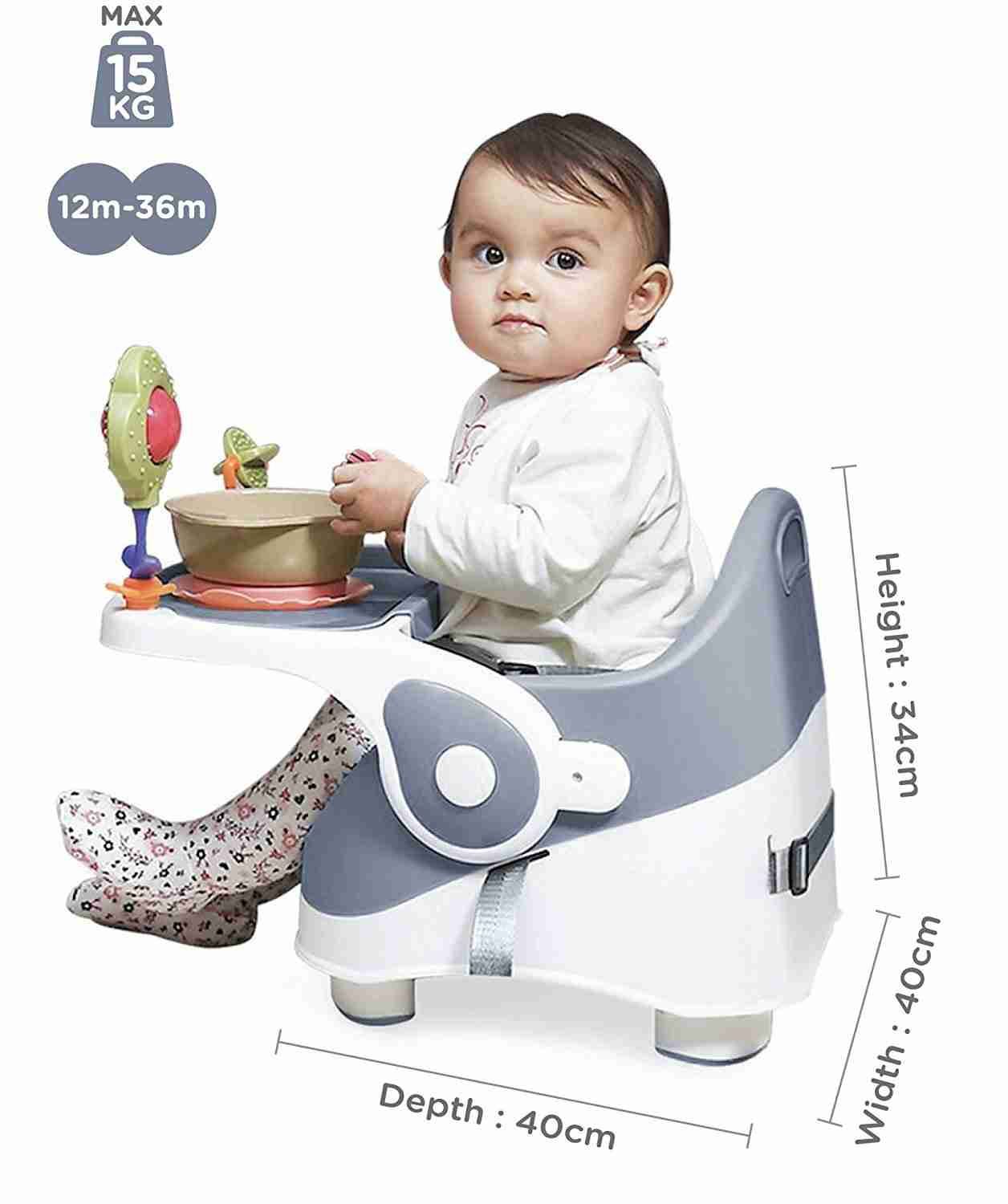 The Venture Q-Fix highchair is fully adjustable and suitable for a maximum 15kg