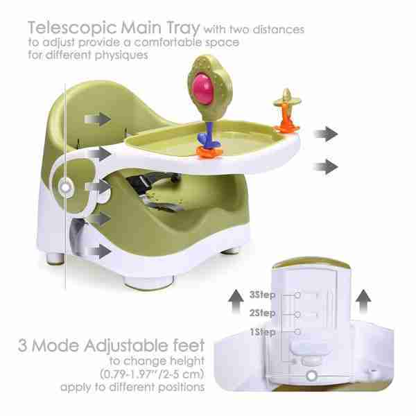 Adjust the portable highchair seat to give your little one just the right height at your table.