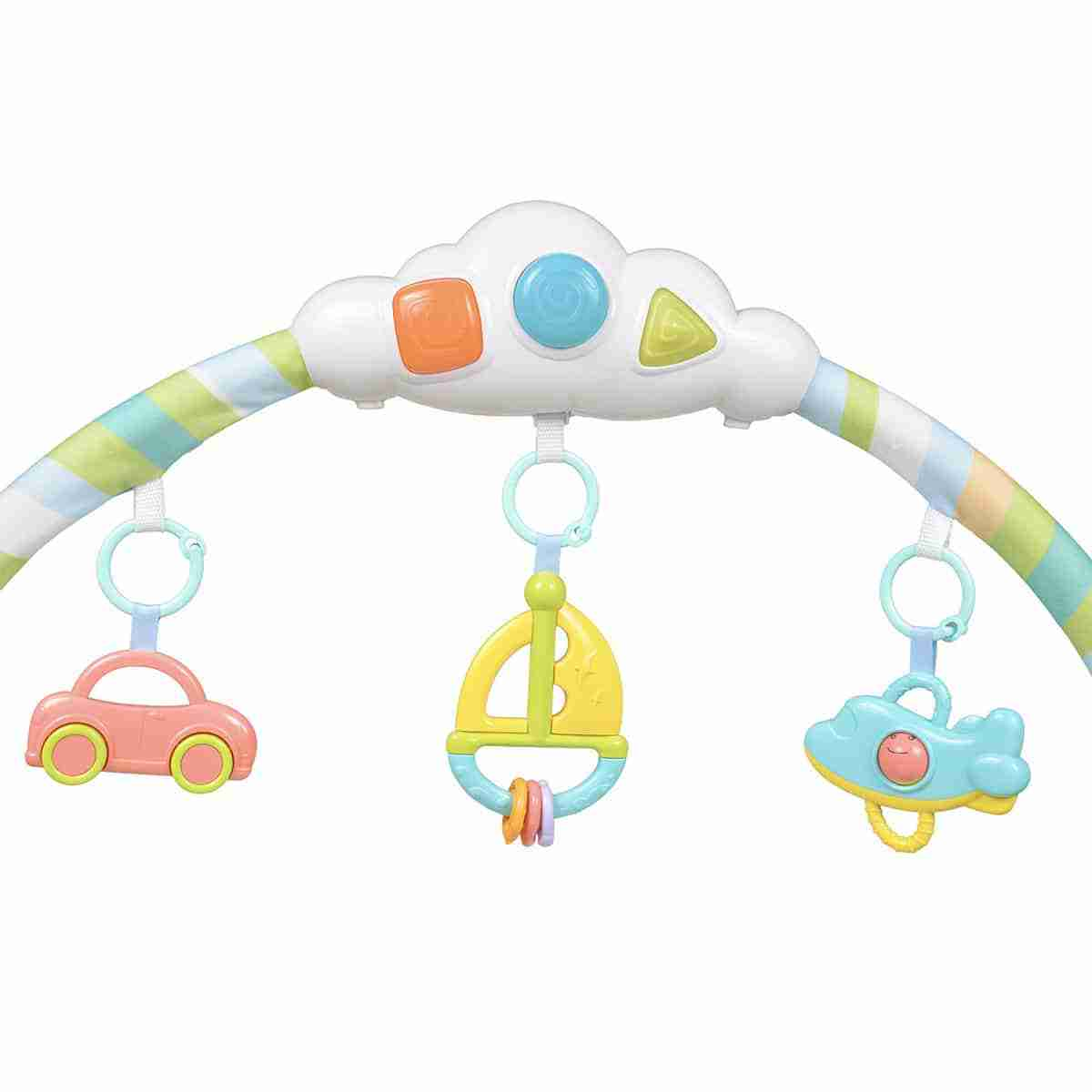 Play mat overhanging toys for baby to grab