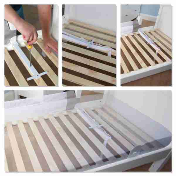 The Venture Q-Fix bed guard is fitted directly to your child's bedframe.