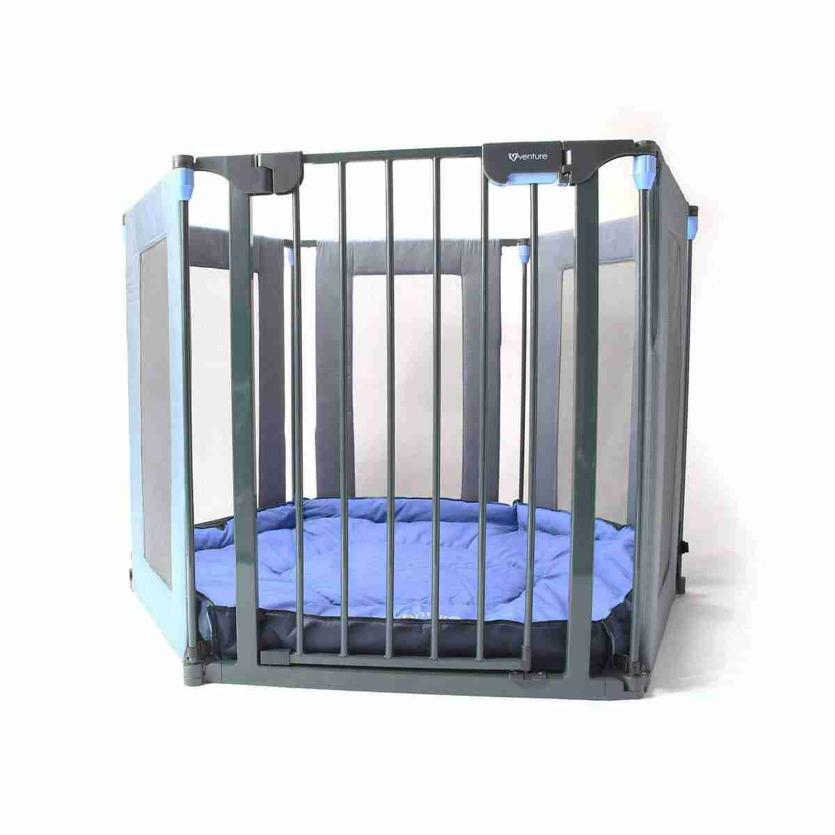 Durable playpen with fabric mat base