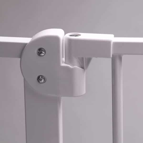 The gate can be locked into a 90 degree angle to keep it open when needed