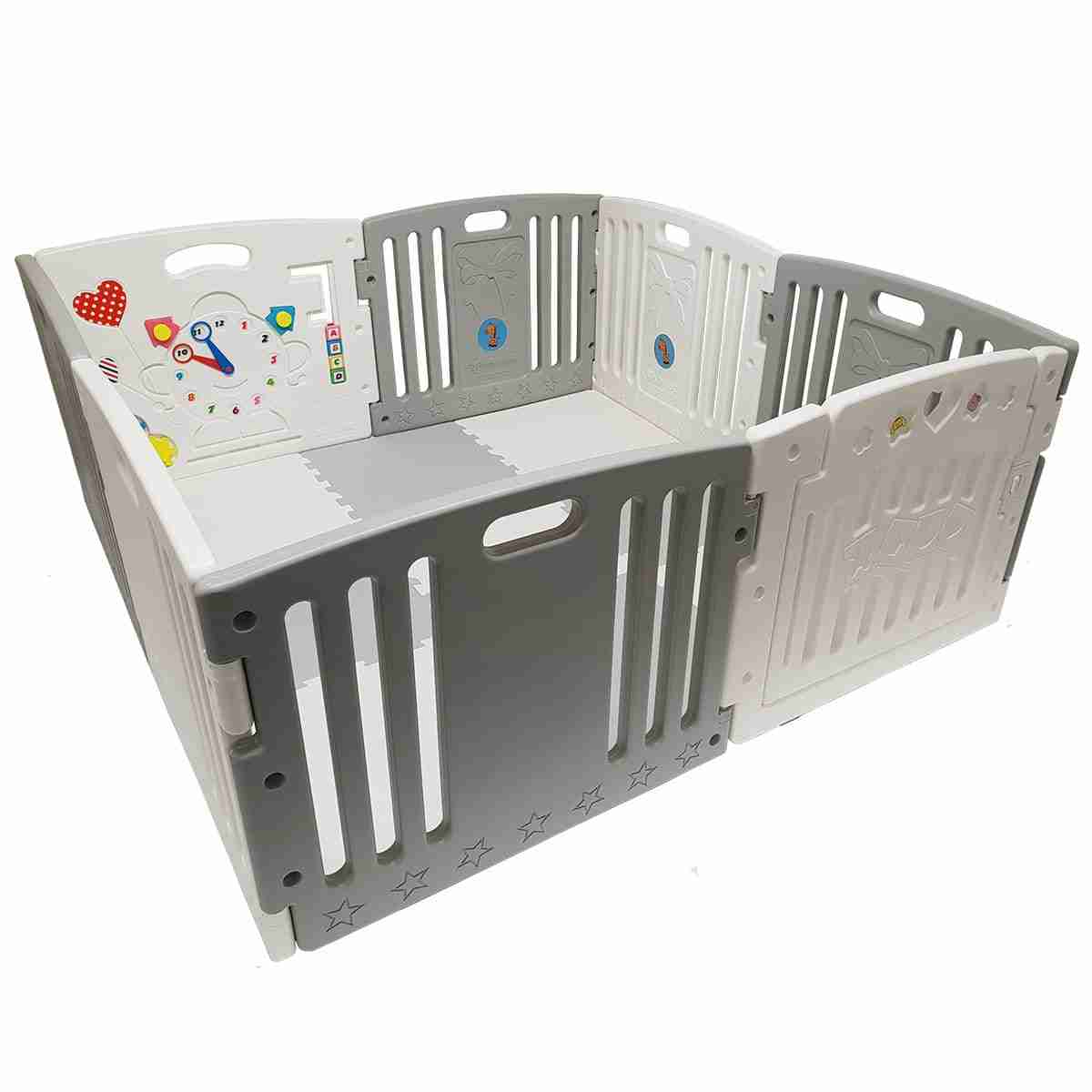 This large plastic playpen has enough room for toddlers to play away!