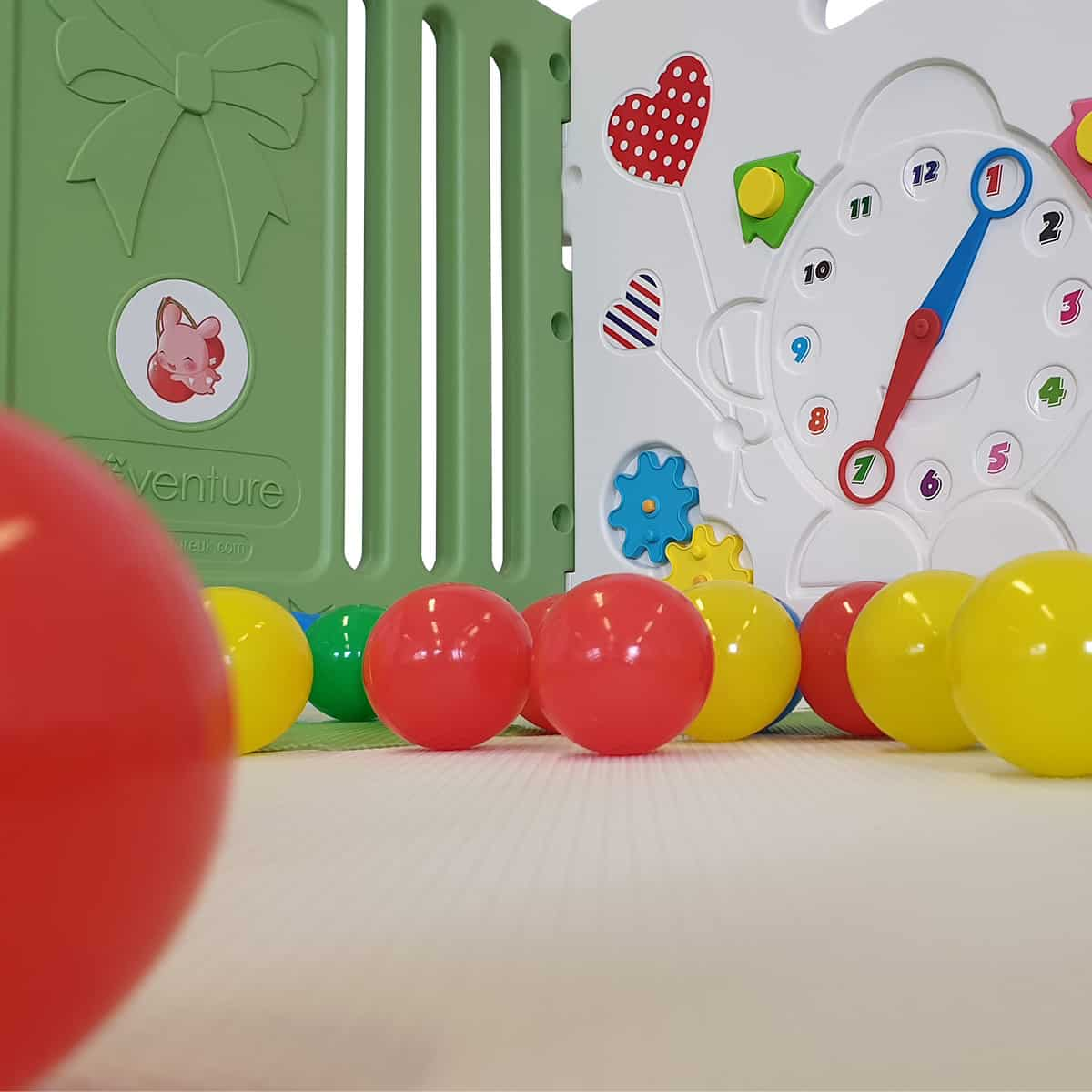 The Venture All Stars DUO Baby Playpen comes with colourful play balls and mats