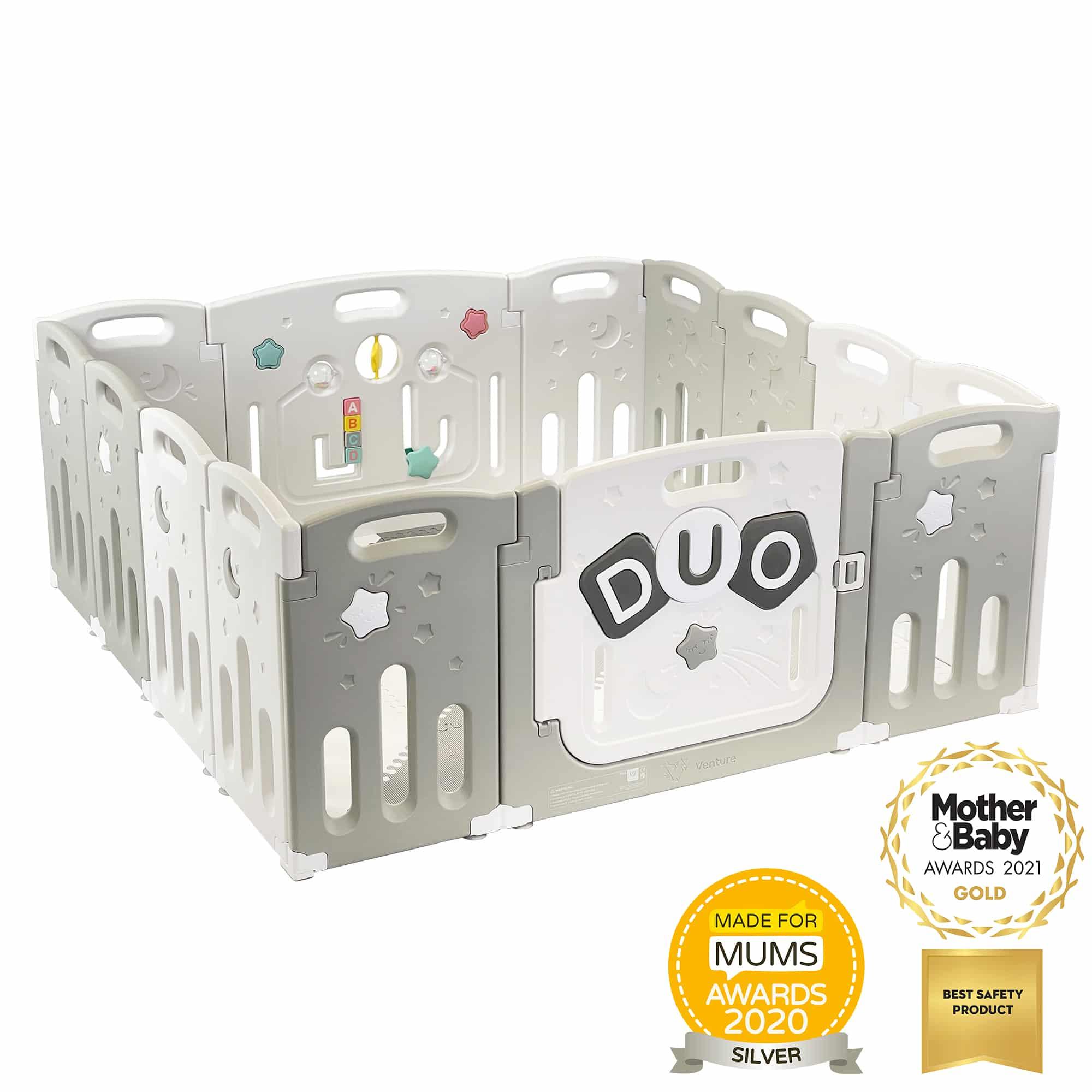 Award Winning Venture All Stars DUO Baby Playpen - Grey