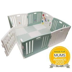Baby playpen with activity panel, balls and mats