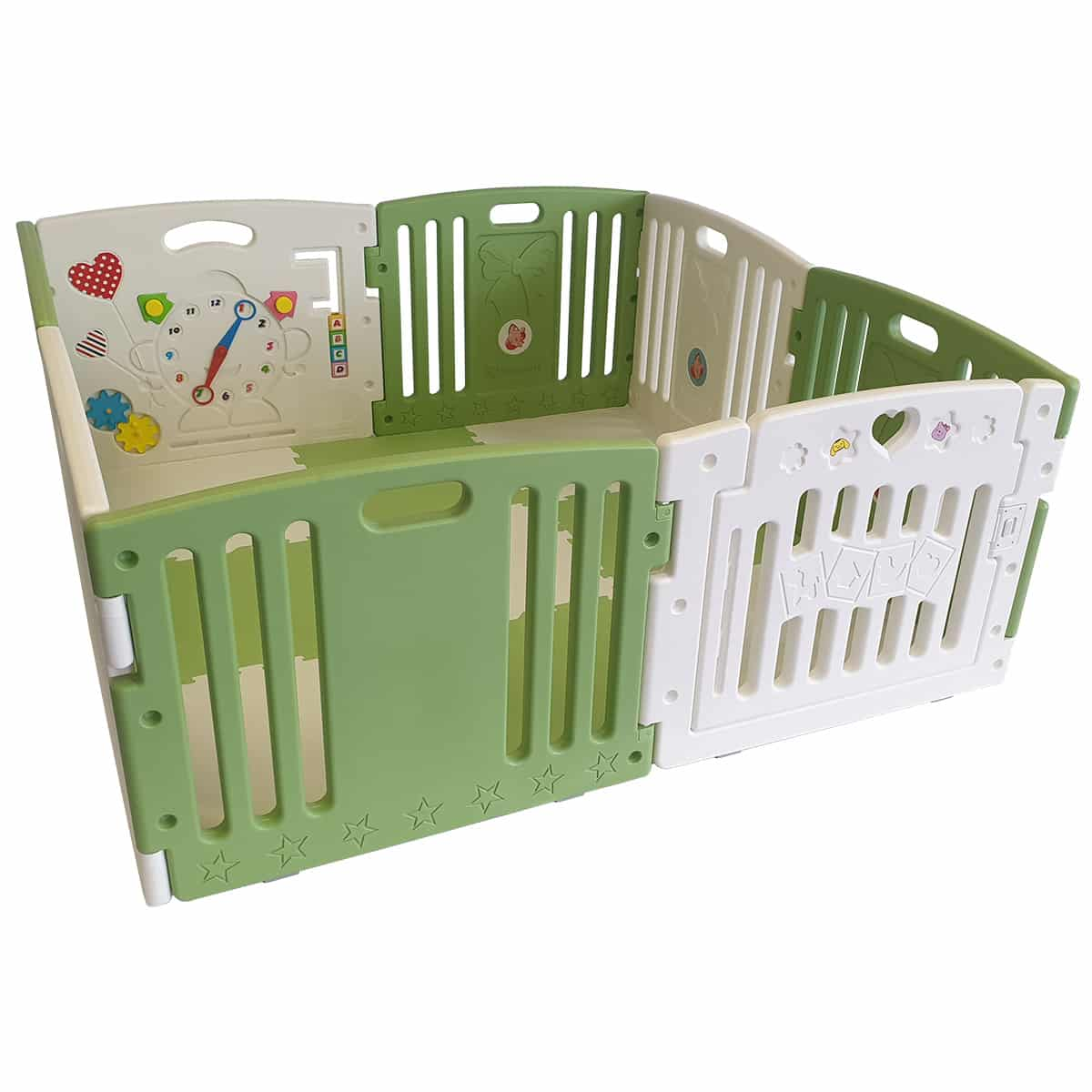 Large green and white plastic baby and toddler playpen