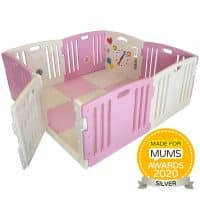Pink baby playpen with mats and play balls