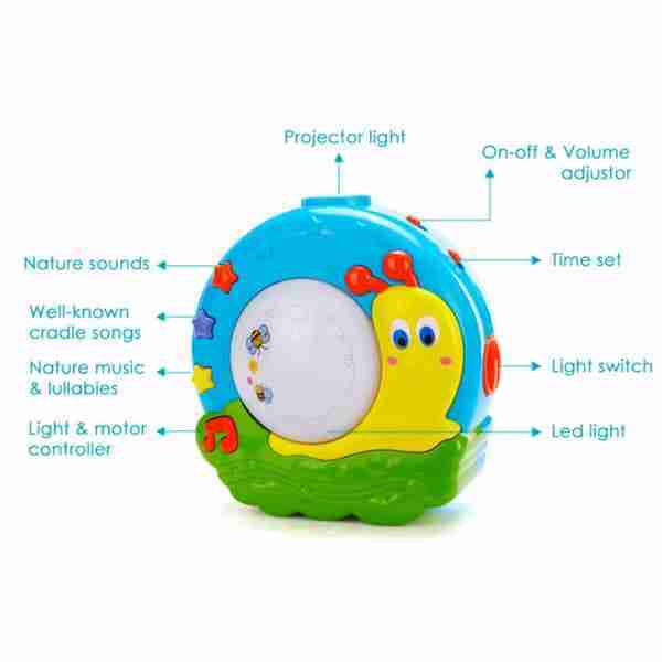The Lullaby nightlight soothes your baby with calming sounds and projections