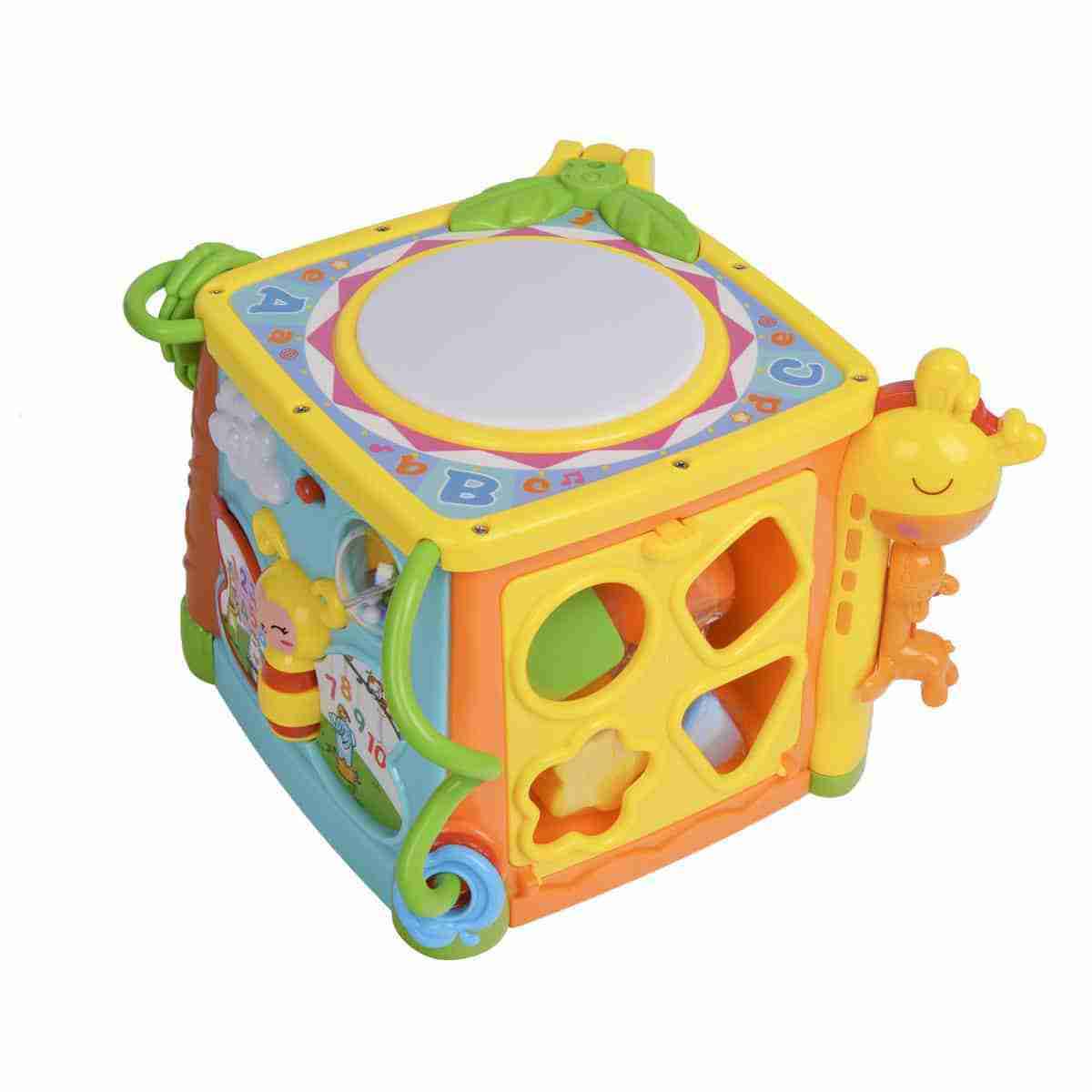 A small drum on the top helps develop your gross motor skills
