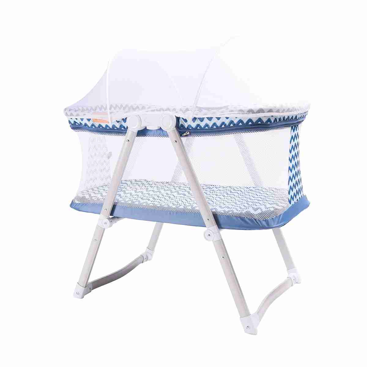 Venture Hush-Lite travel crib in blue with net