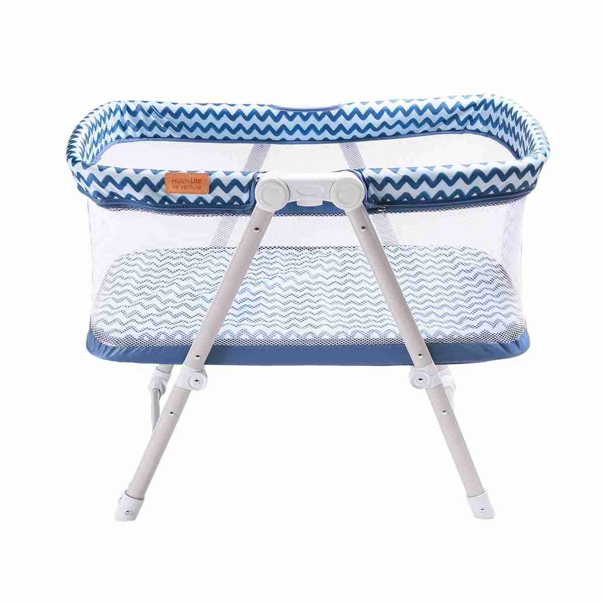 Hush-Lite travel crib in blue is perfect for sleeping on the go