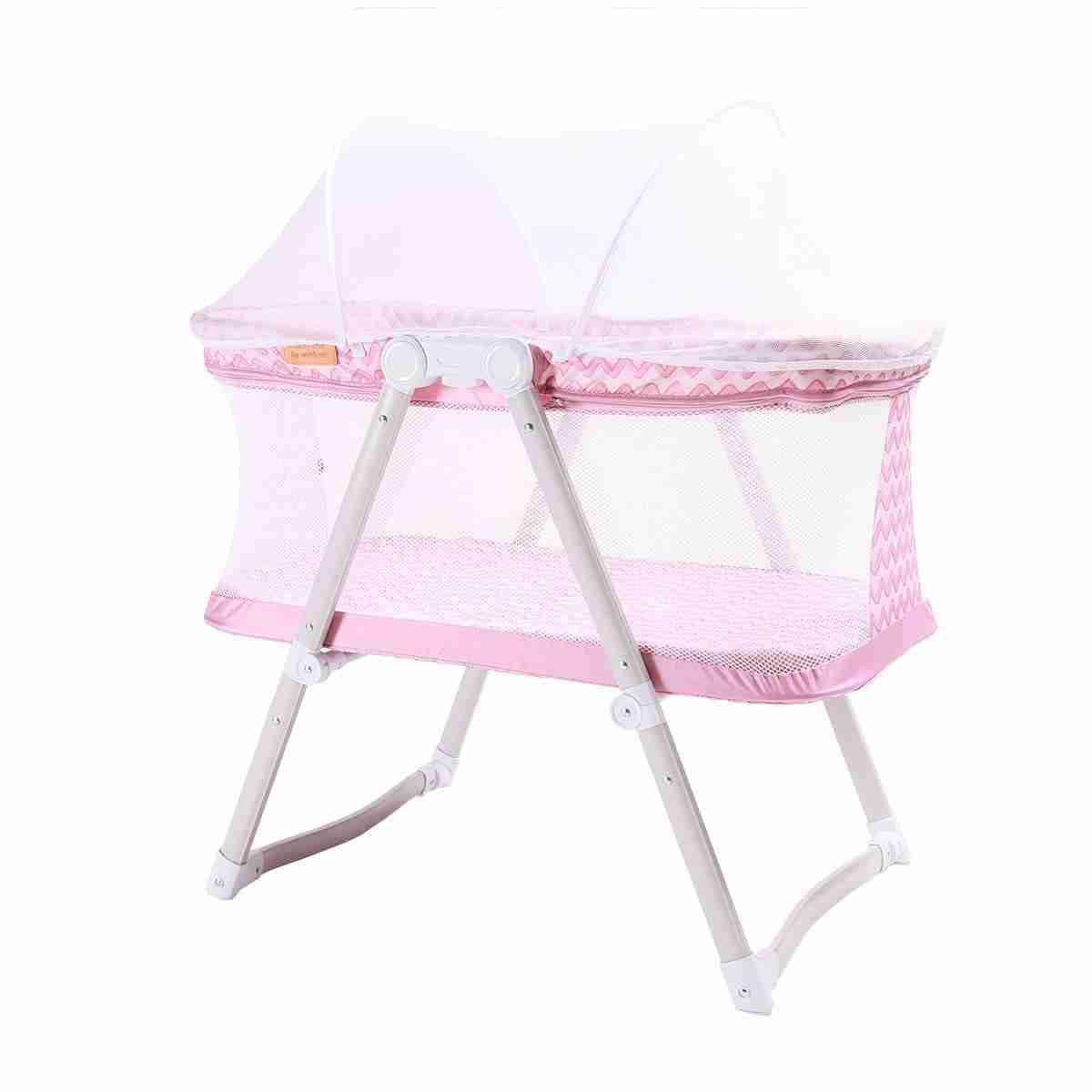 Pink Hush-Lite travel crib with fitted net