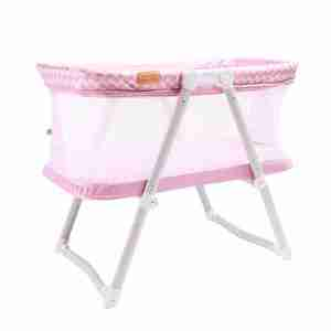 Popping pink hush lite travel crib