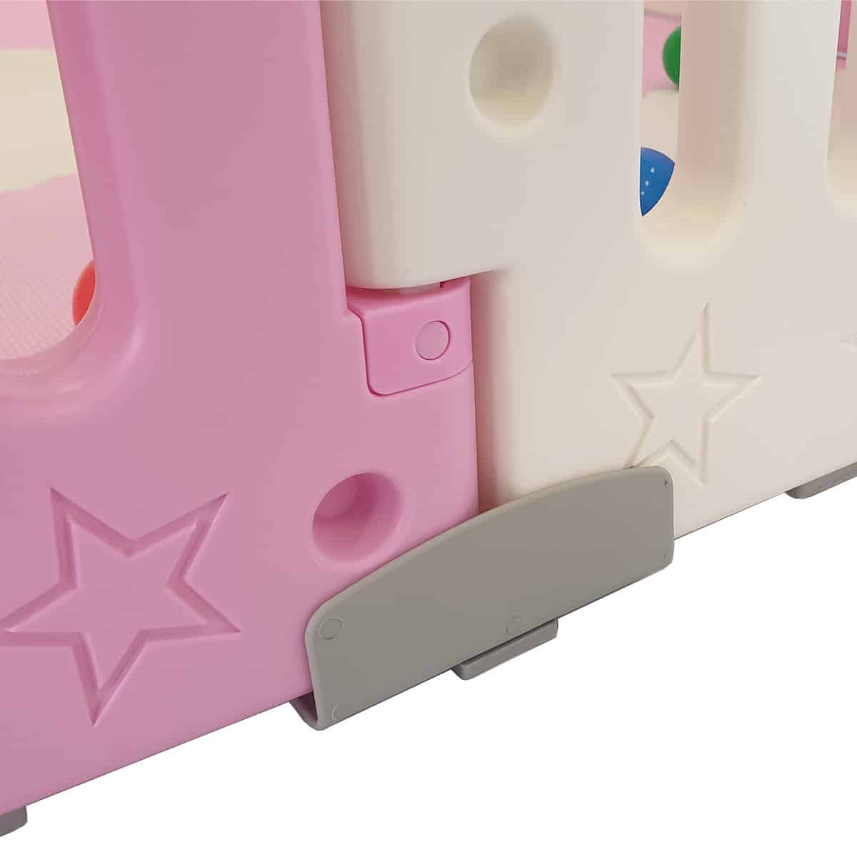 Our pink All Stars DUO baby playpen also features clever no slip feet to help prevent the playpen moving.