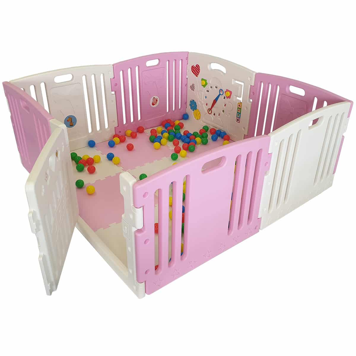 All Stars DUO pink baby playpen complete with playballs and play mats