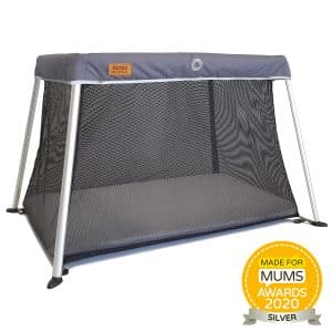 Baby travel cot in grey