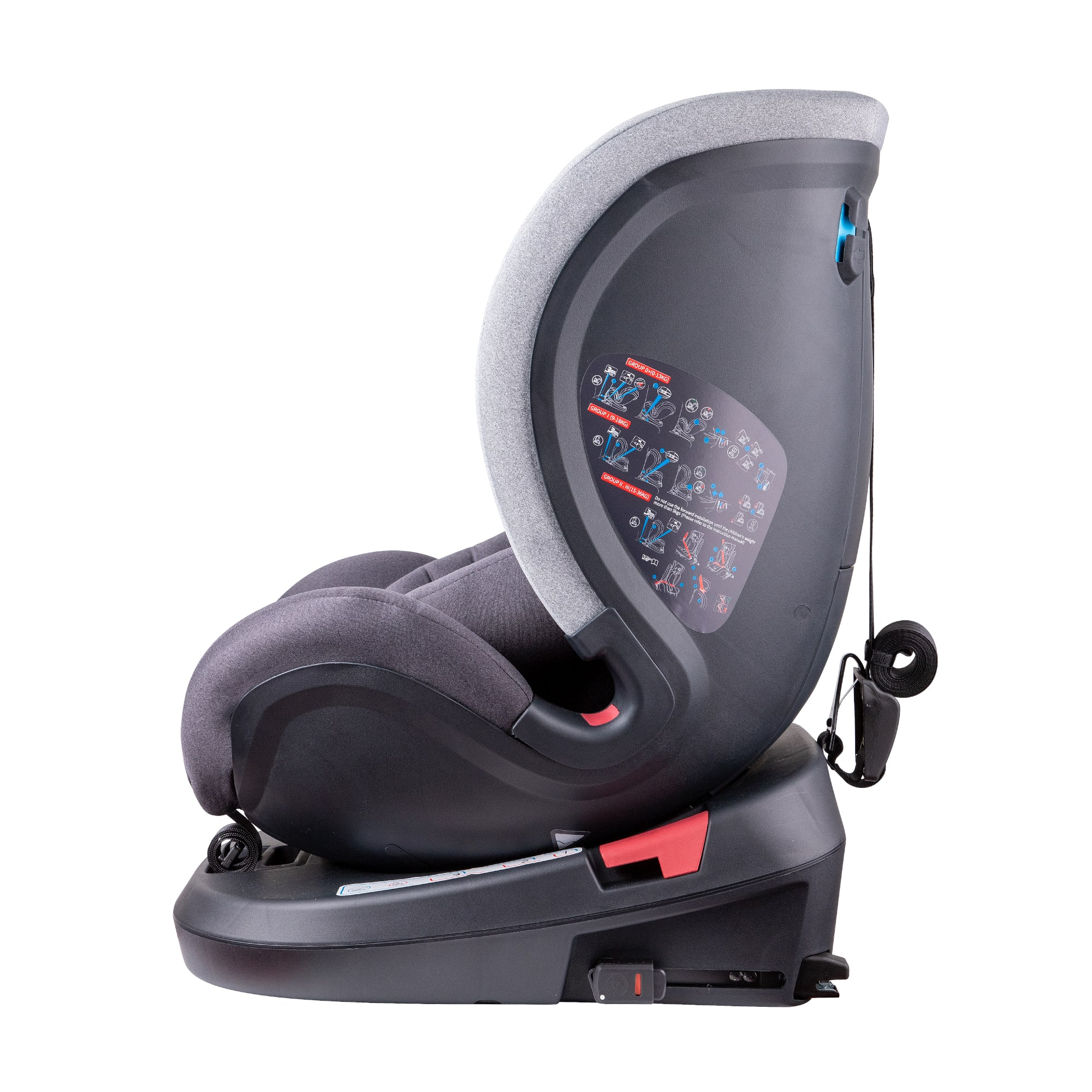 Complete with integrated ISOFIX base and tether straps