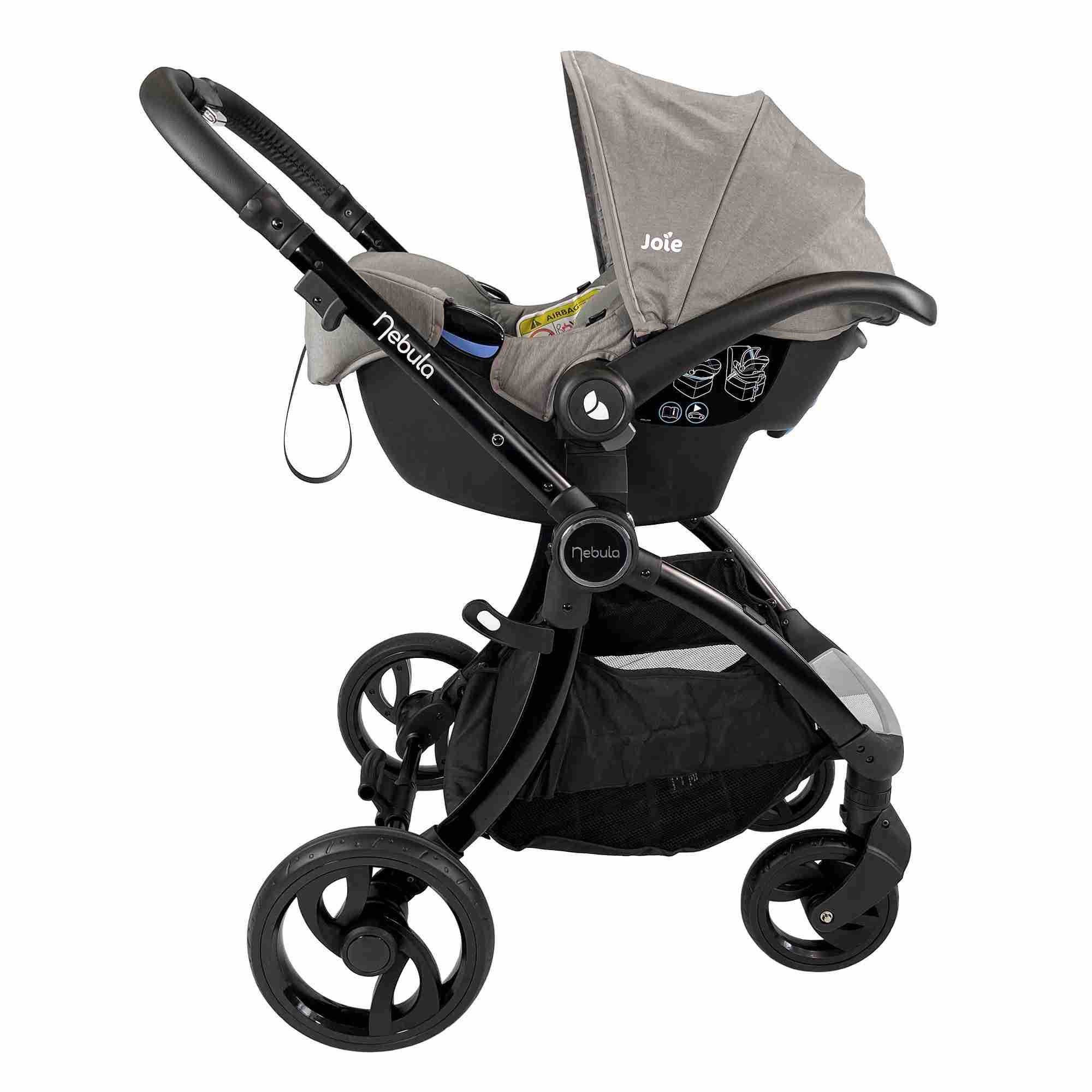 Venture Nebula Cool Grey Stroller with car seat attached using car seat adapters