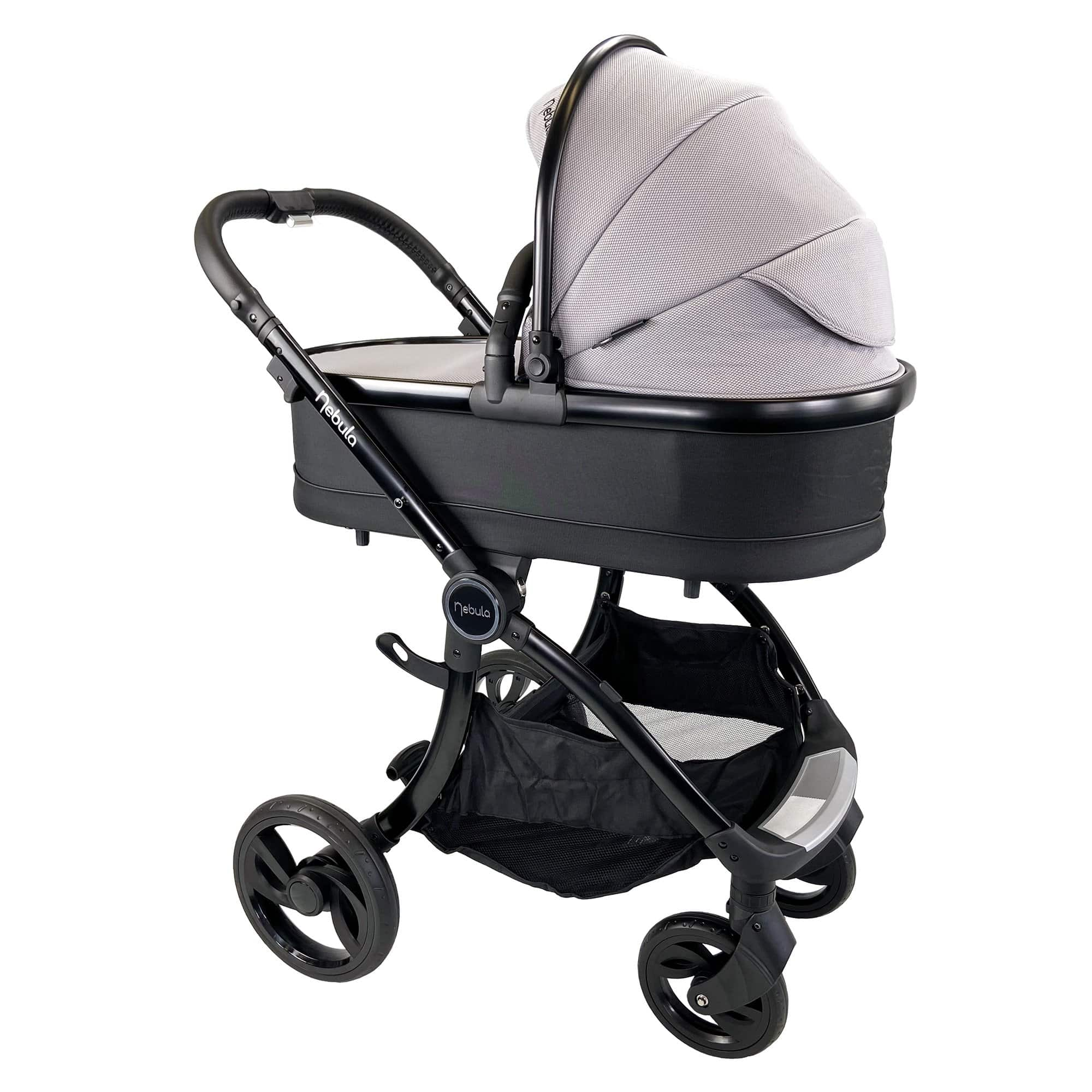 Venture Nebula Cool Grey Stoller with carry cot attached