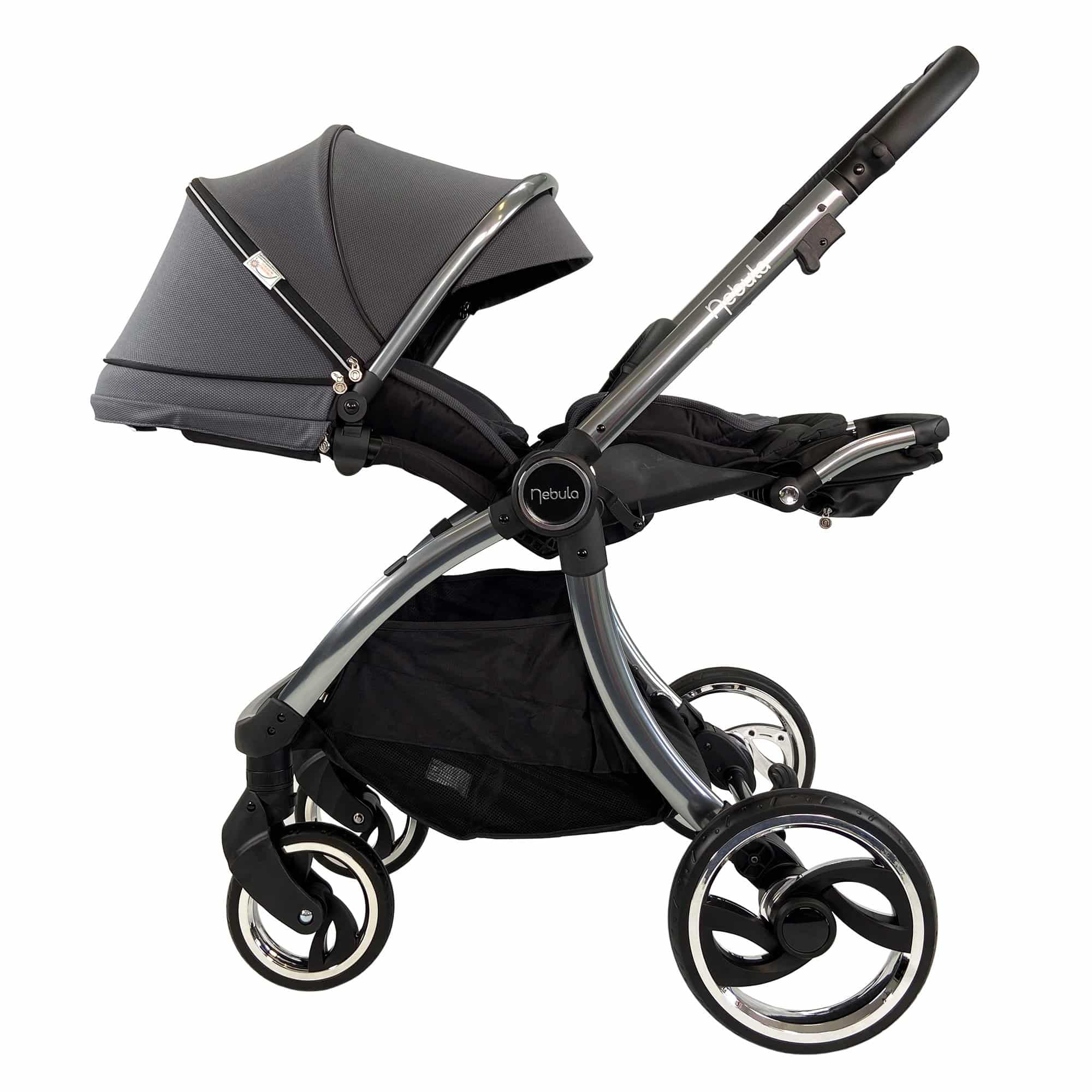 Venture Nebula Stroller in Metro Grey in lay flat position suitable from birth