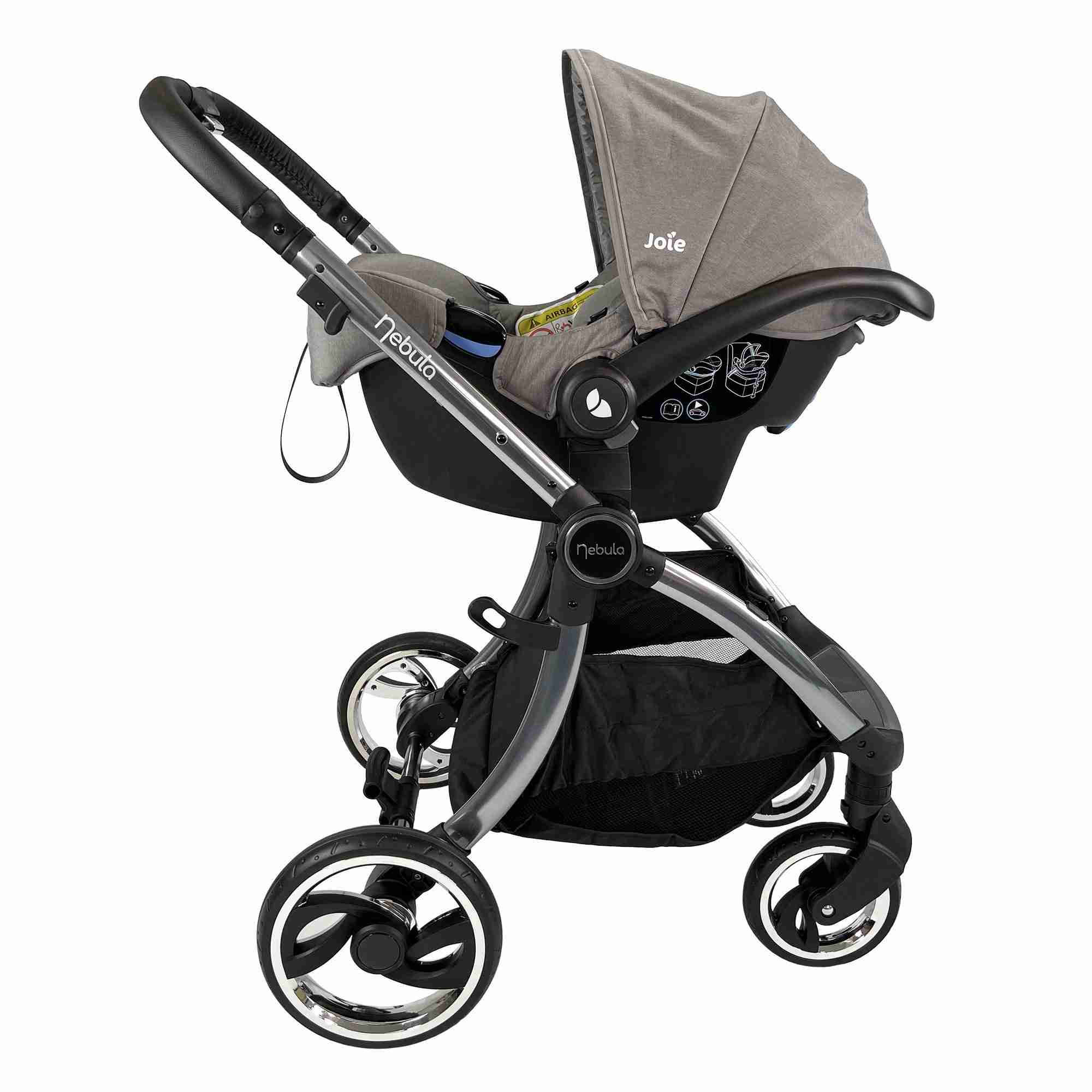 Venture Nebula Metro Grey baby stroller with car seat attached using car seat adapters