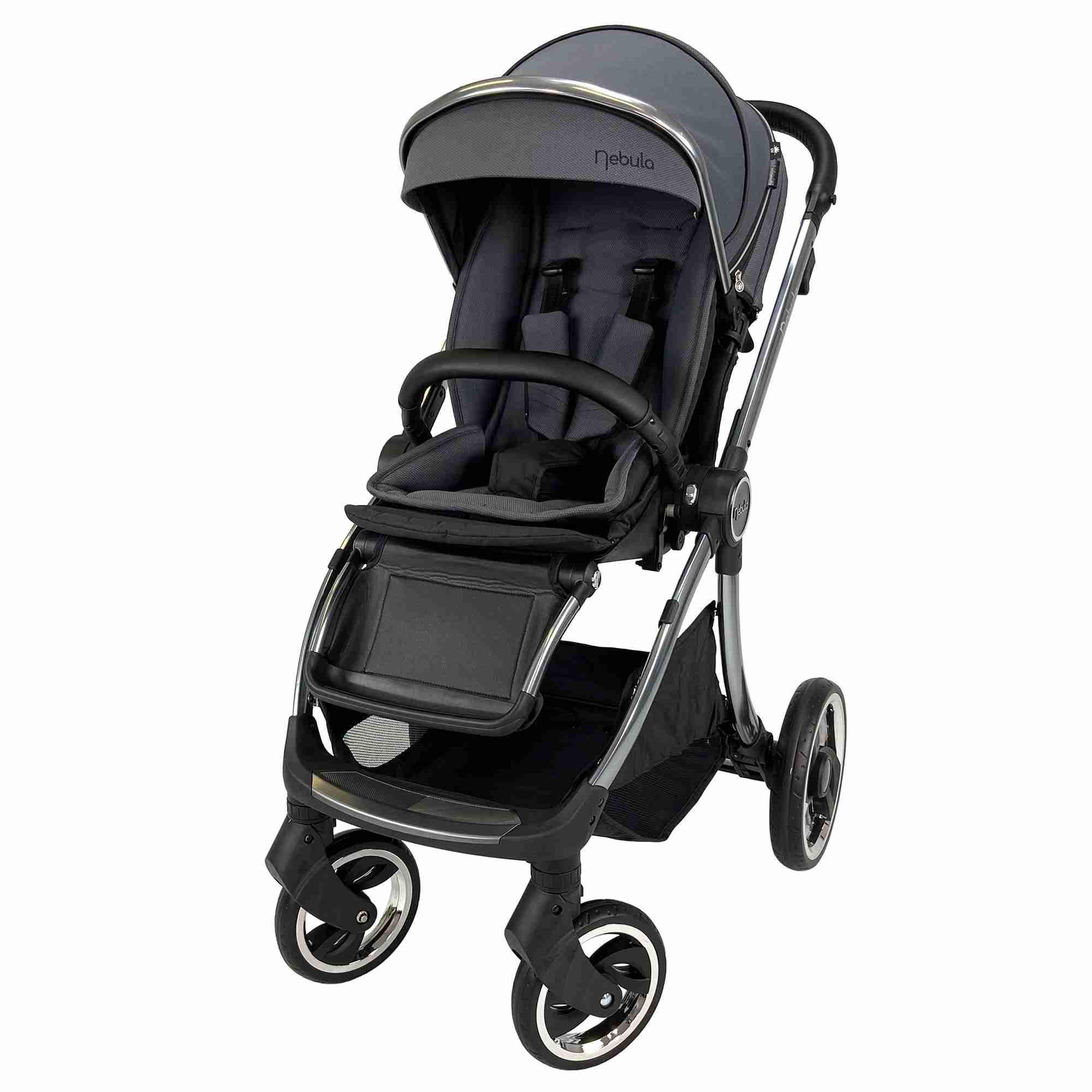 Venture Nebula Metro Grey baby pushchair in world facing mode.