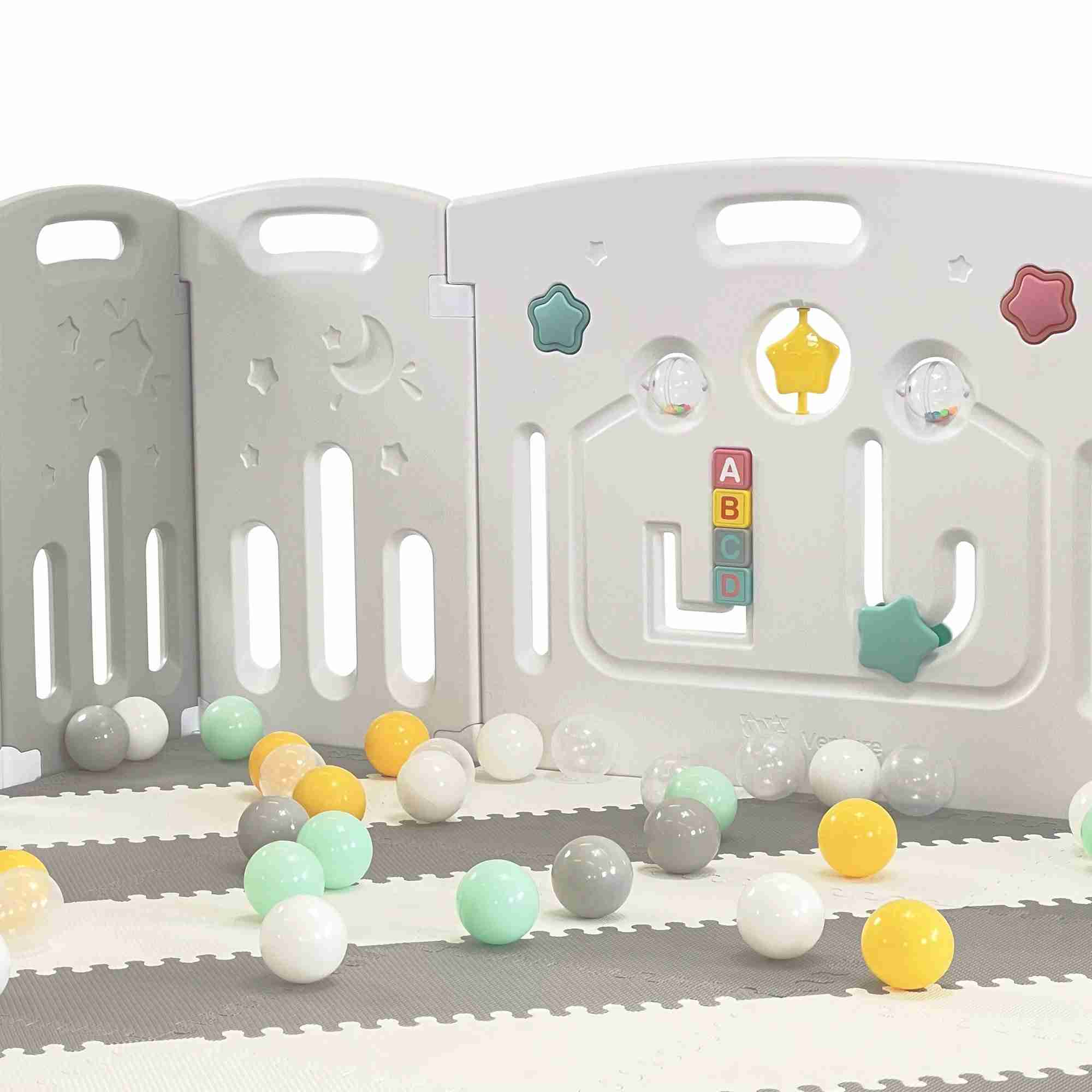The game panel on the All Stars DUO Grey Baby Playpen