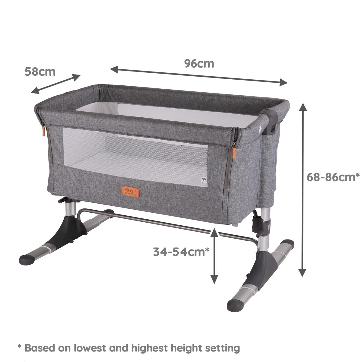 Hush Co sleeper and bedside crib dimensions