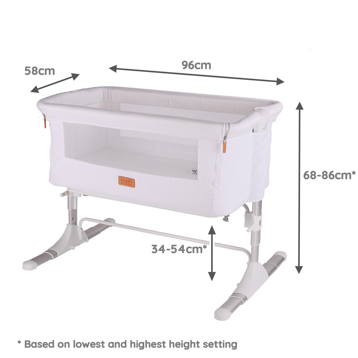 Hush Co sleeper & bedside crib dimensions