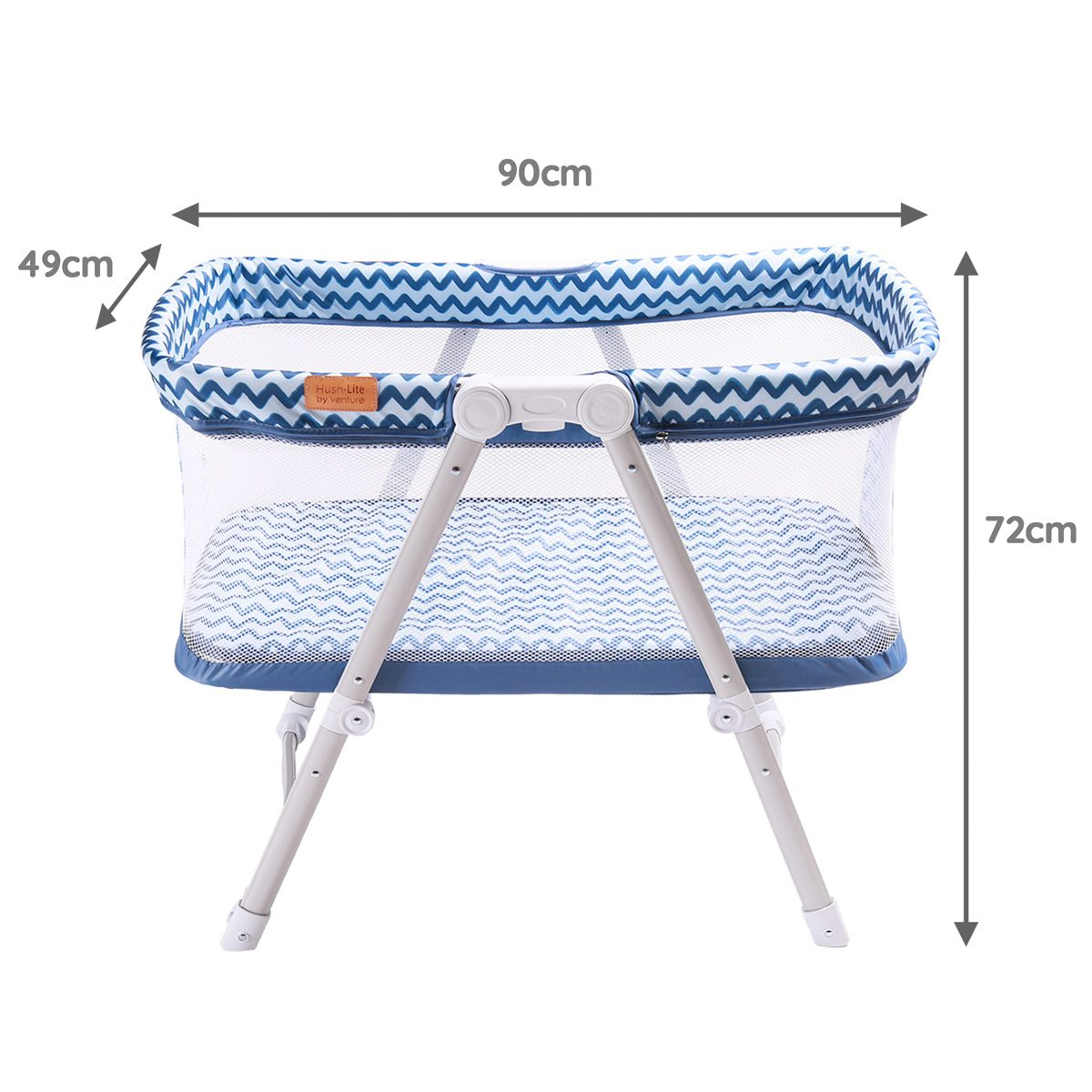 Blue Hush-Lite travel crib dimensions