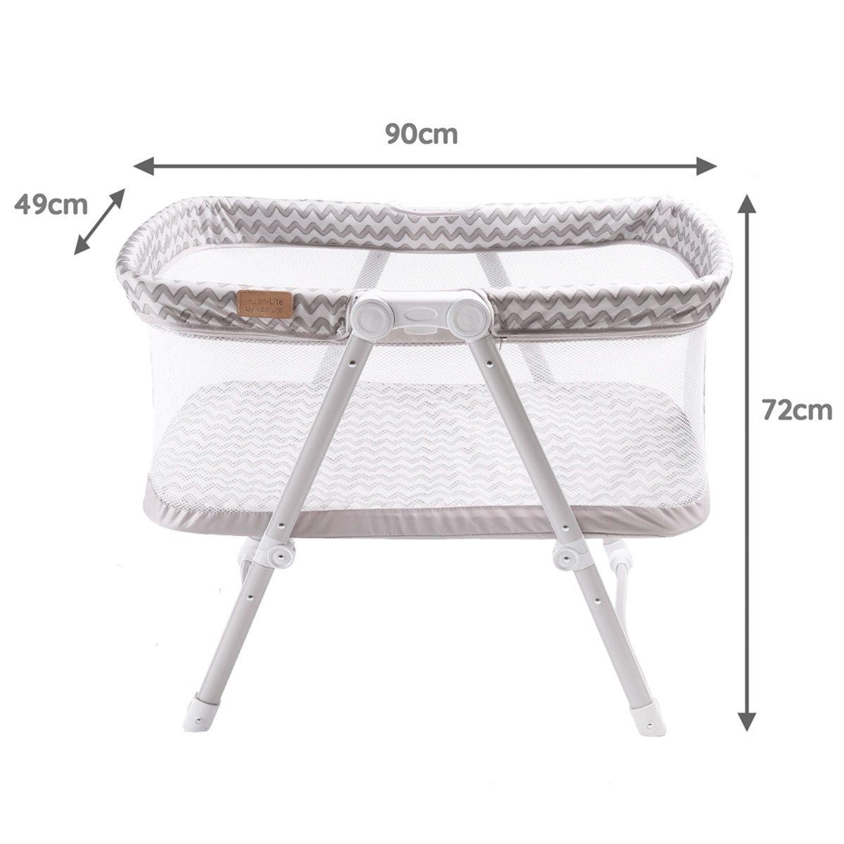 Grey Hush-Lite travel crib dimensions