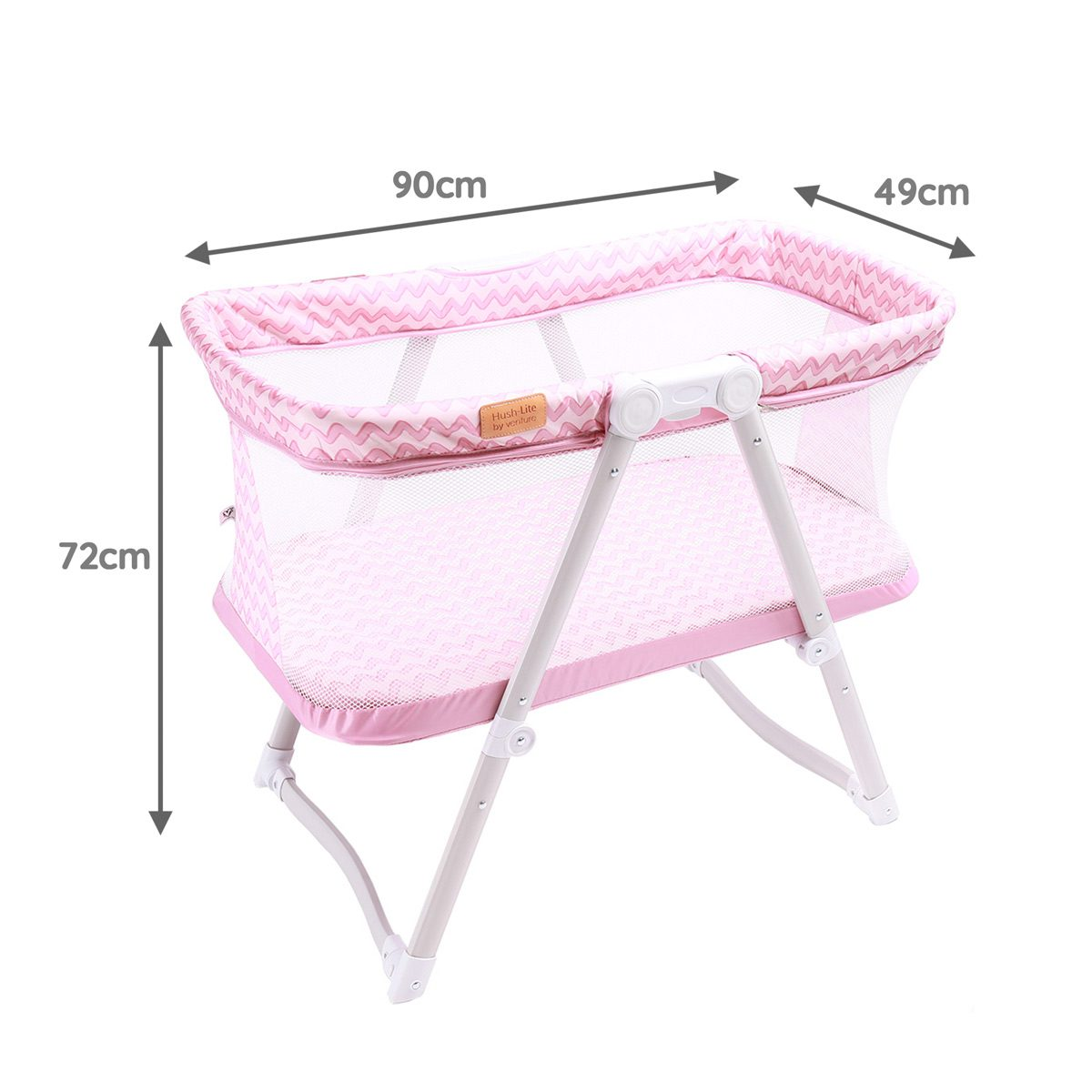 Hush-Lite Travel Crib Dimensions for Pink