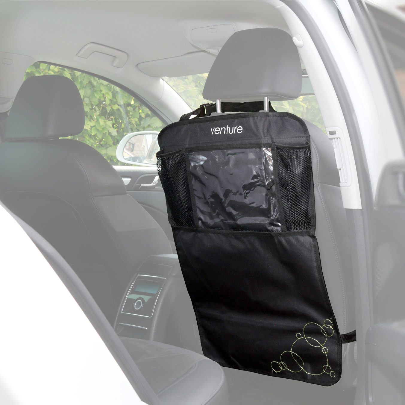 Venture car seat kick mats have a handy viewing window for Ipads or other tablets