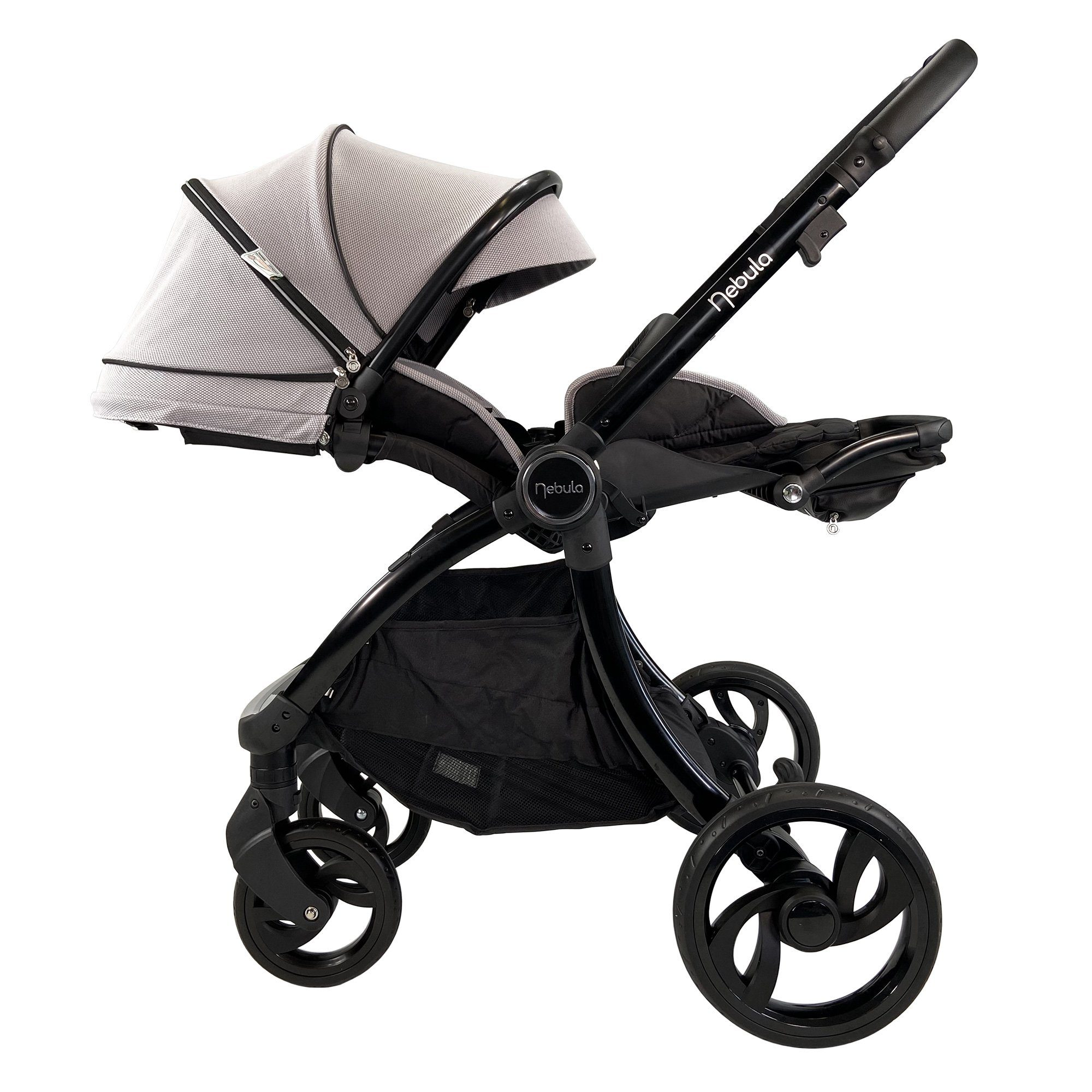 Venture Nebula Stroller Cool Grey in lay flat position suitable from birth
