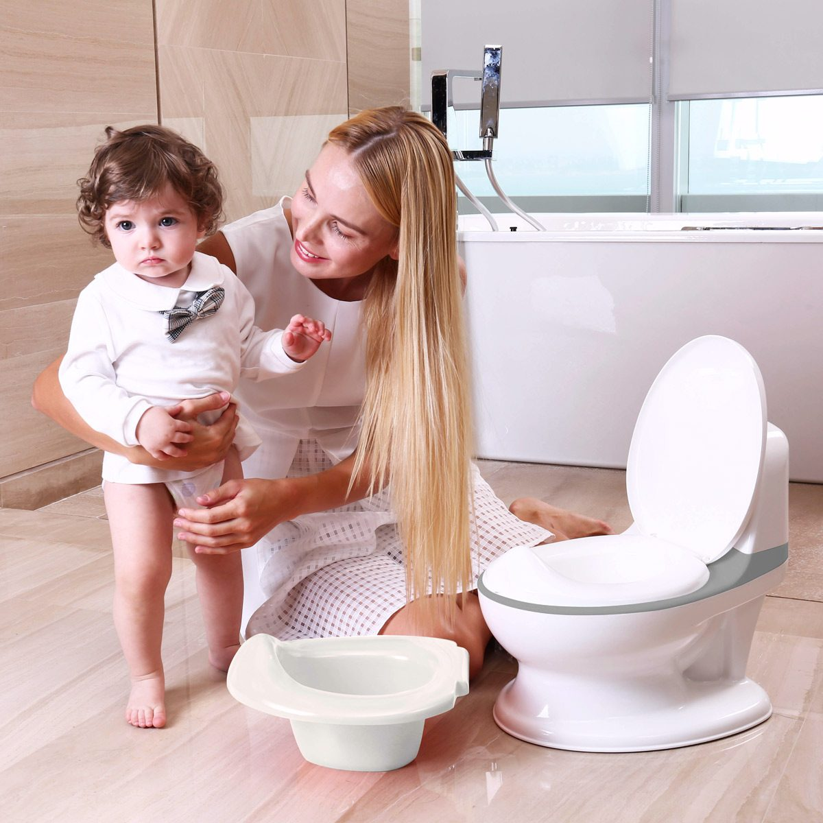 Children will feel more grown up using a potty shaped just like the big toilet
