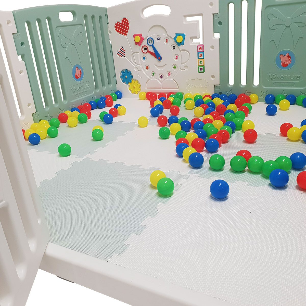 All Stars DUO baby playpen with coloured play mats and balls.