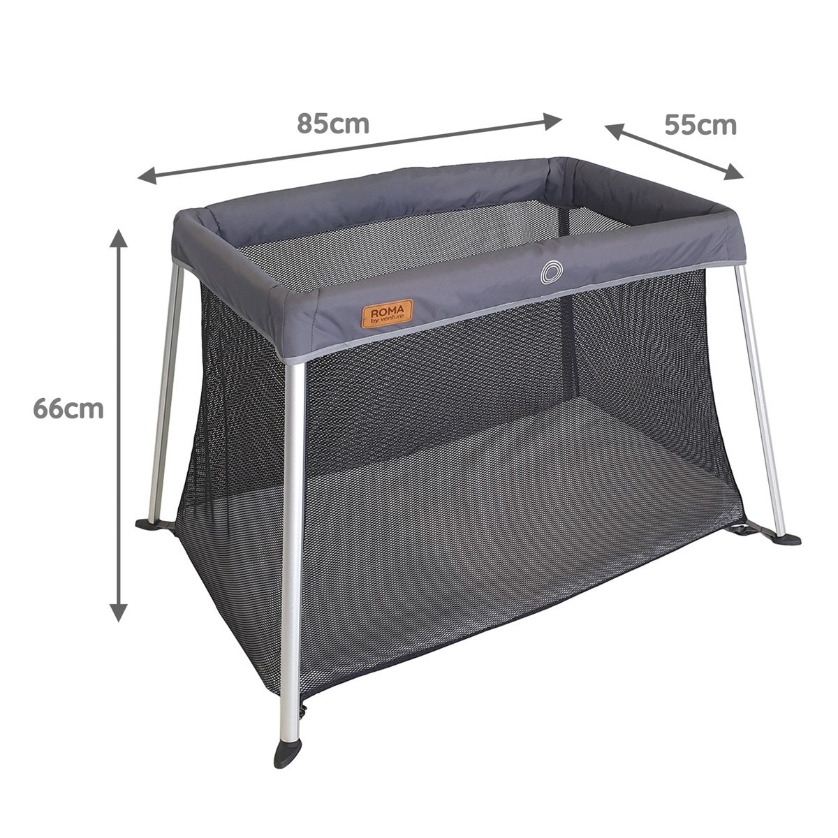 The dimensions of the Venture Amor travel cot