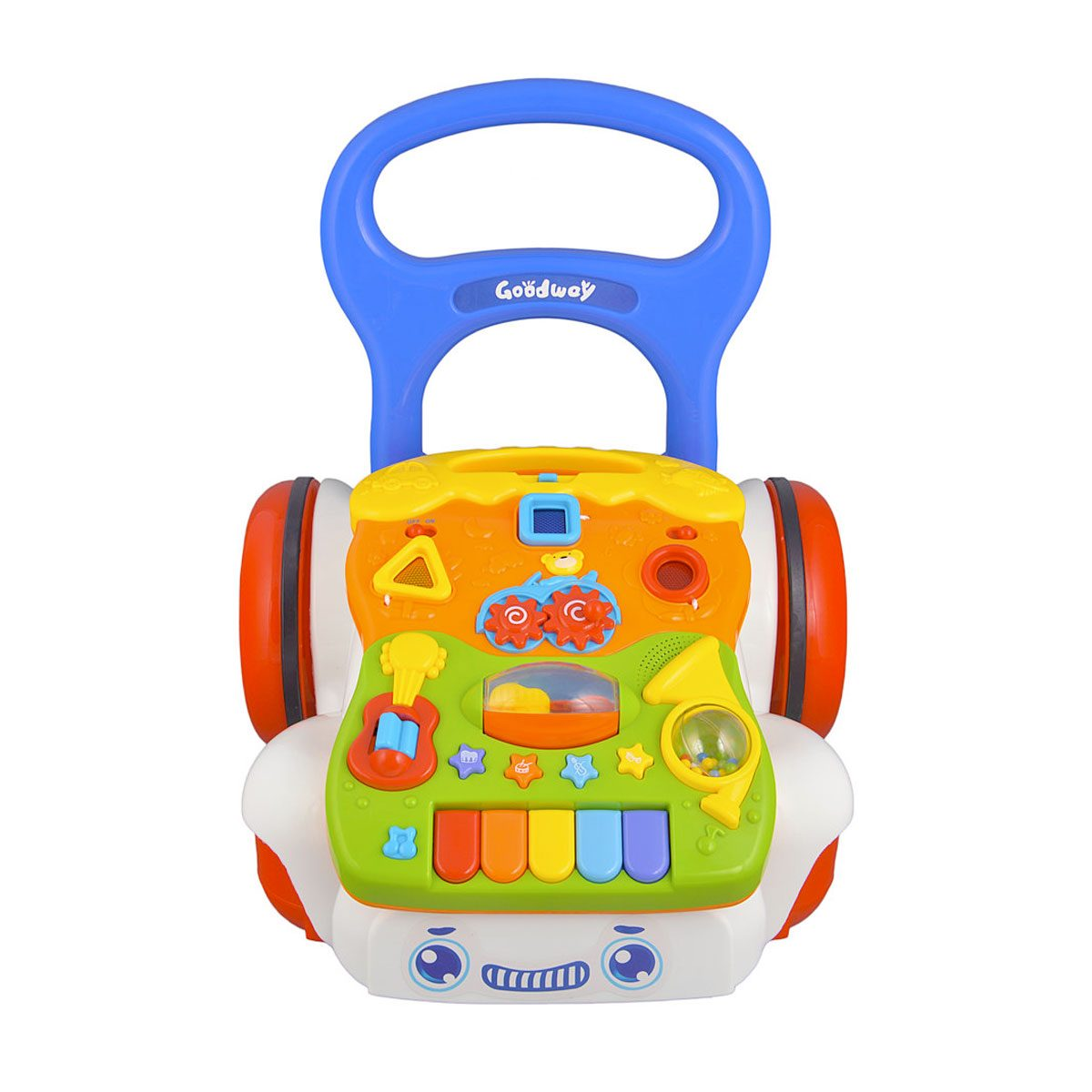 The baby walker features a colourful and dun activity panel