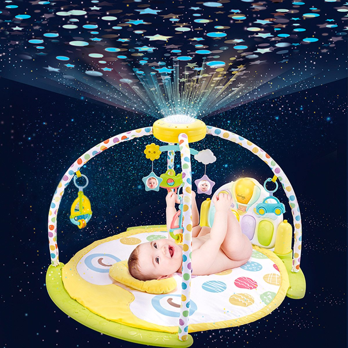 Activity gym with starlight projector