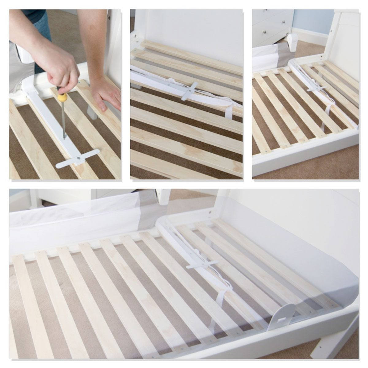 The Bed Guard is secured to the base of the bed to add extra security and strength