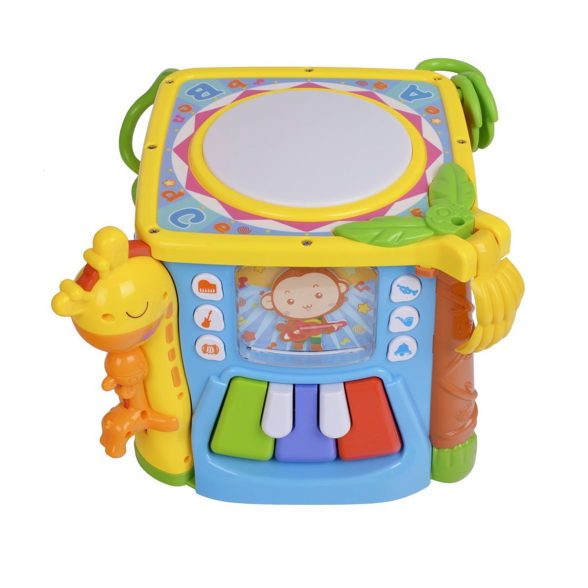 The Venture Turn & Learn play cube includes a musical side